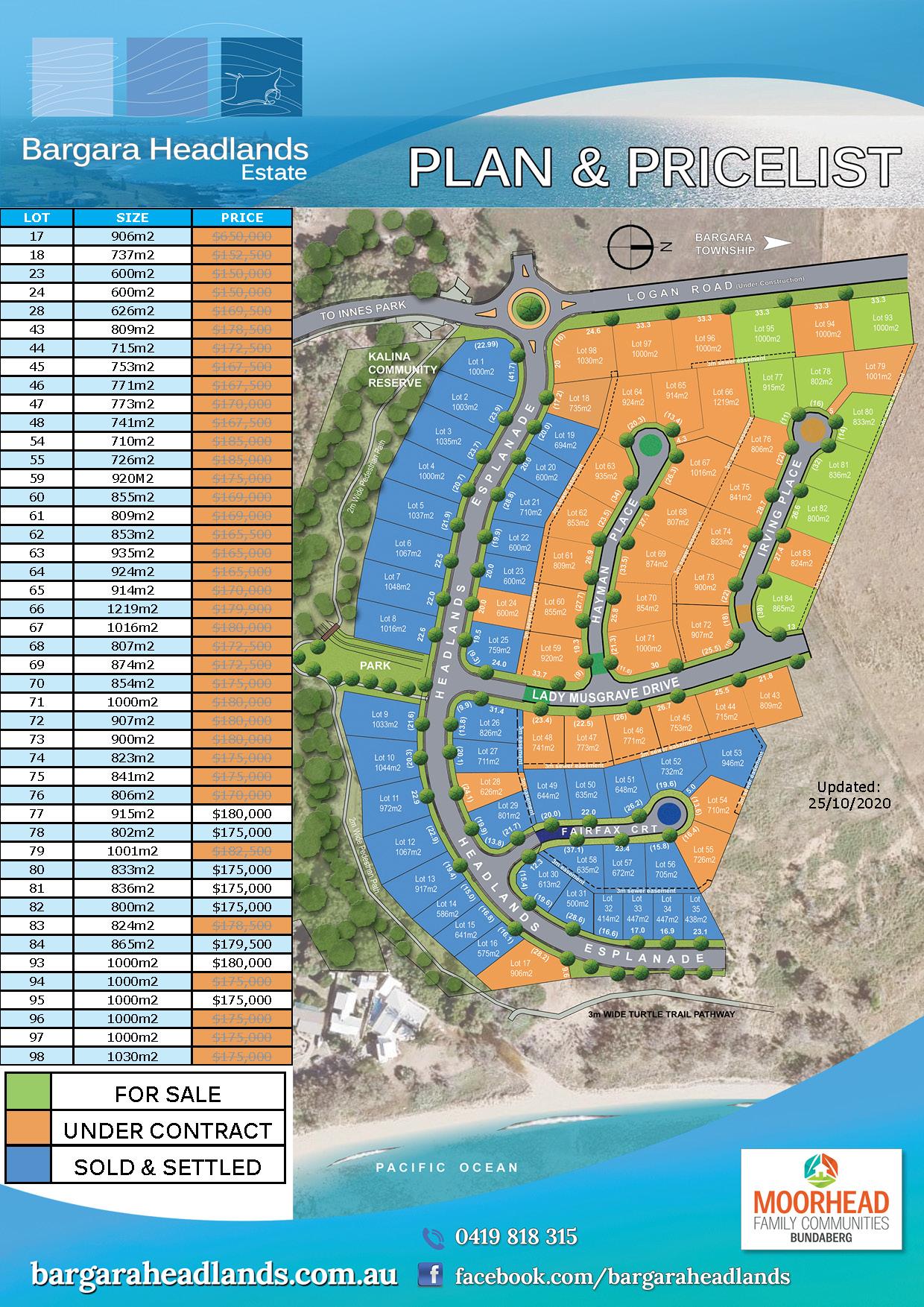 Plan and Price List - 25th October 2020 - Bargara Headlands Estate