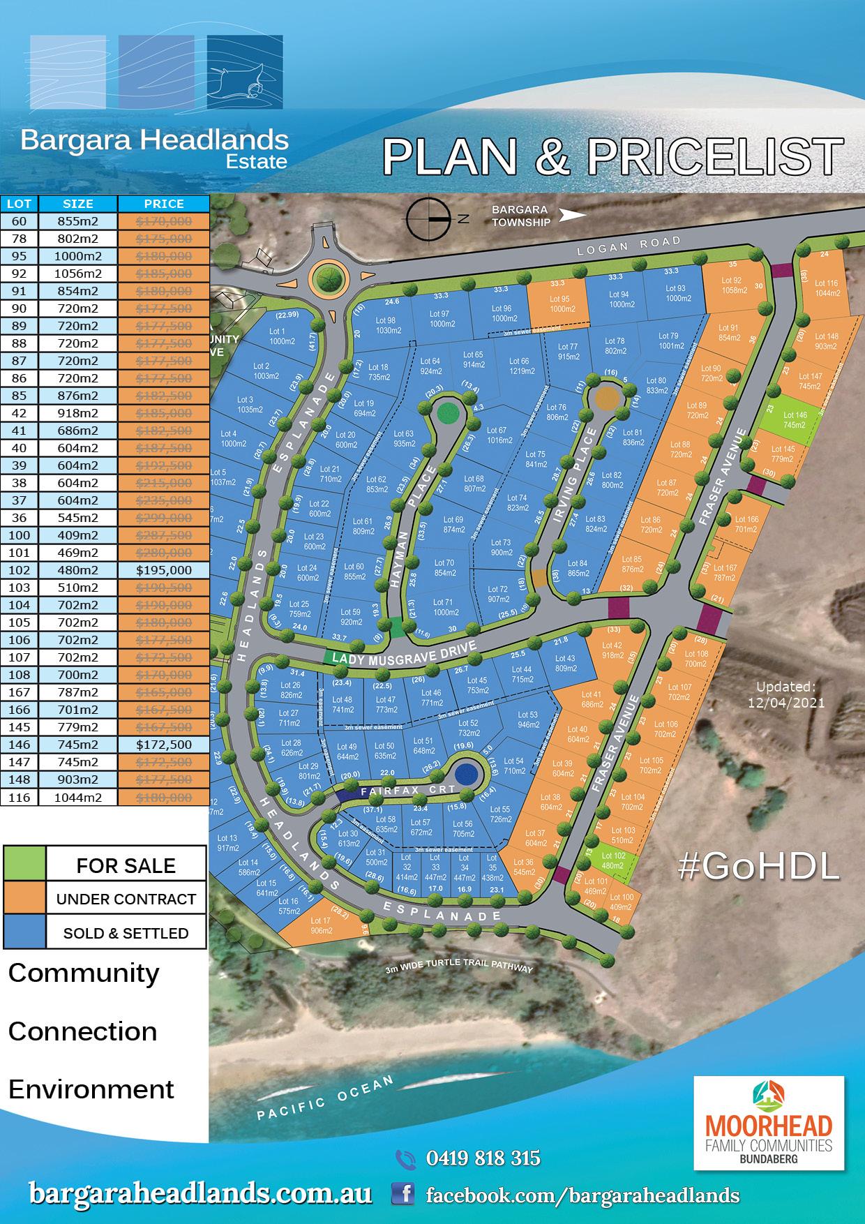 Plan & Price List - April 12, 2021 - Bargara Headlands Estate
