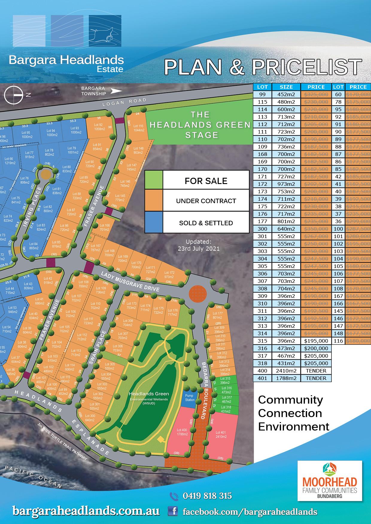 Bargara Headlands Pland & Price List - 23rd July 2021