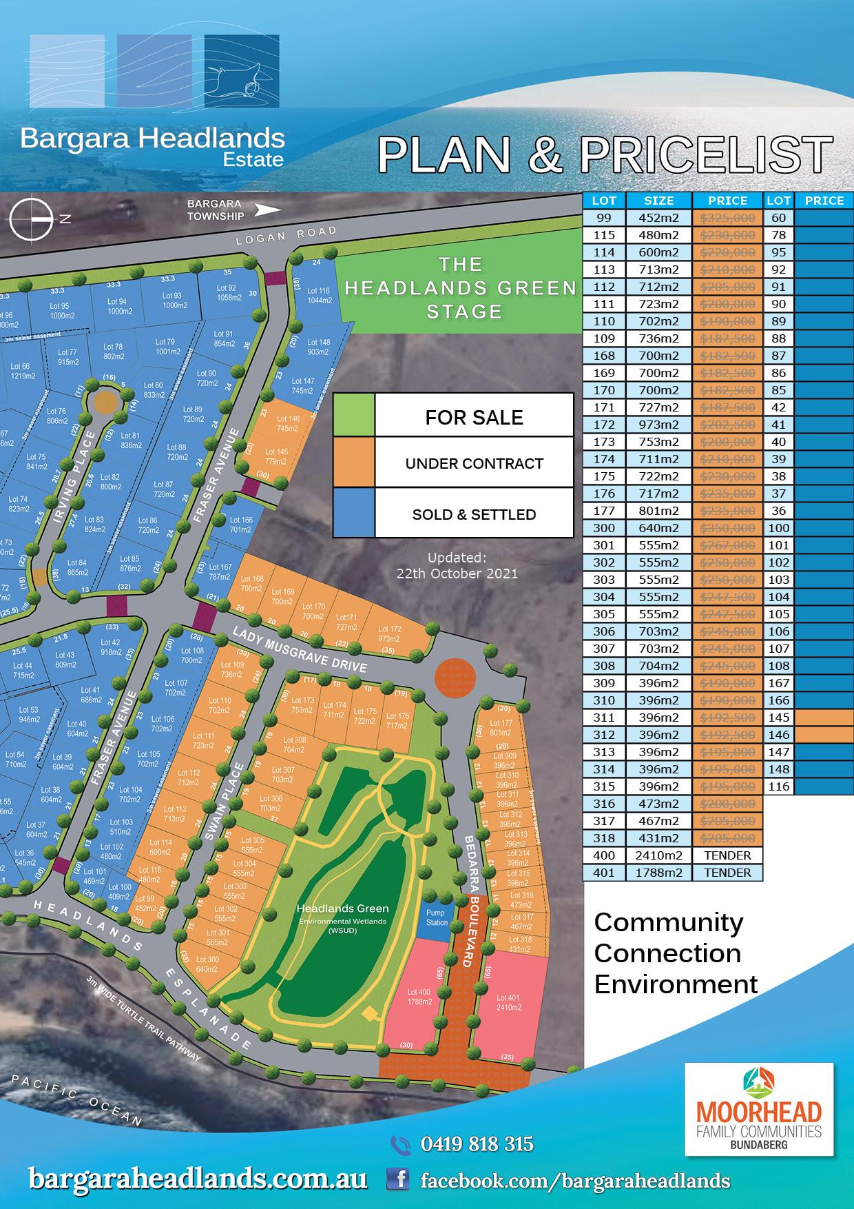 Plan & Pricelist - Bargara Headlands Estate 22nd October 2021